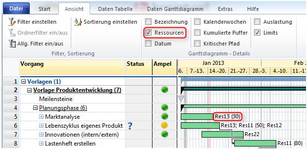 A-Plan 12.0: Anzeige der Ressourcen im Gantt-Diagramm