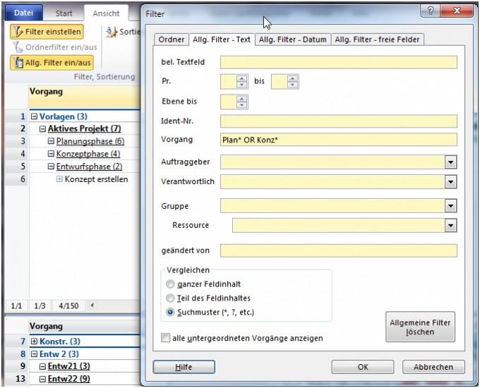 A-Plan 12.0: Filter auf Projekte und Vorgänge mit UND / ODER
