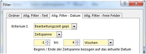 A-Plan 12.0: Filter nach Bearbeitungszeit