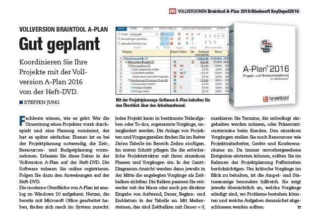 A-Plan als Top-Software in PC Magazin Ausgabe 05/2016