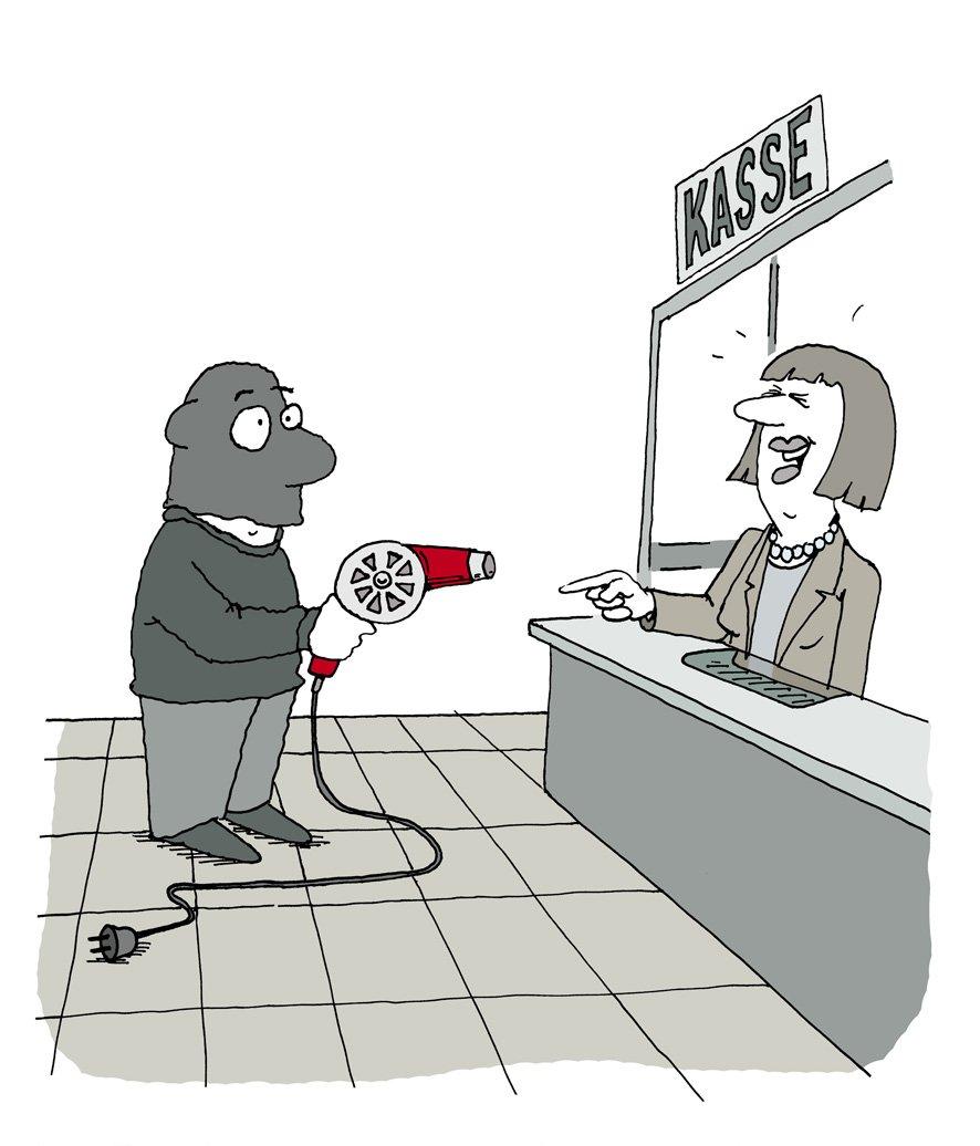 PM-Buch immer wieder einmalig Karikatur von André POLOzcek Bankraub
