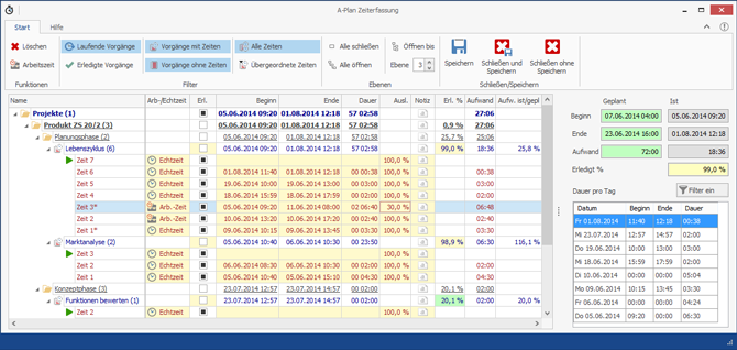 Screenshot Zeiterfassung 2.0